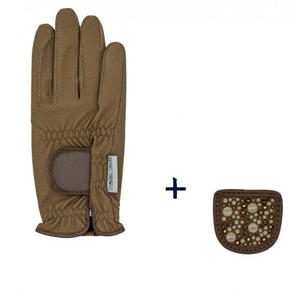 """Hauke Schmidt Reithandschuh """"A Touch of Magic Tack"""" mit Patches """"Mixed"""" Caramel"""