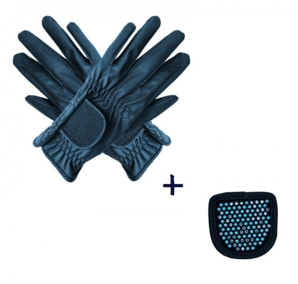"""Hauke Schmidt Riding Glove """"a Touch of Magic Tack"""" with Patches """"Chessboard"""" Navy"""