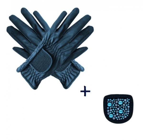 """Hauke Schmidt Riding Glove """"a Touch of Magic Tack"""" with Patches """"Mixed"""" Navy"""