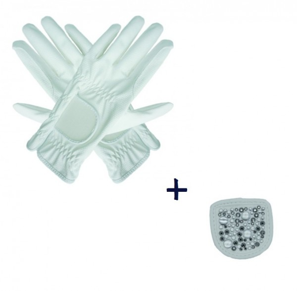 """Hauke Schmidt Riding Glove """"a Touch of Magic Tack"""" with Patches """"Mixed"""" White"""