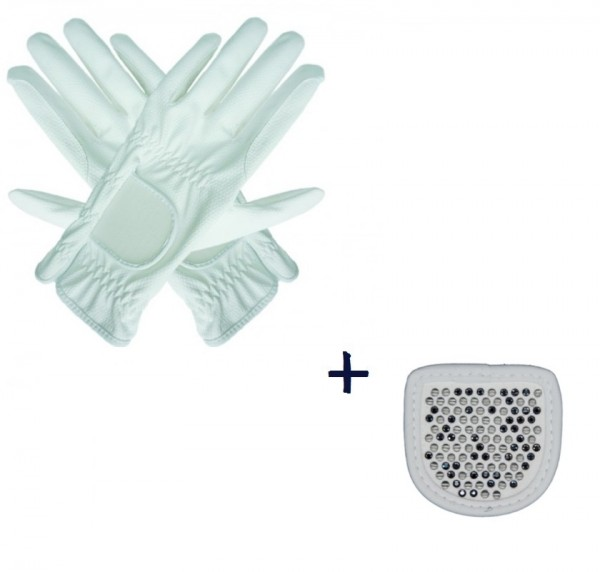 """Hauke Schmidt Riding Glove """"a Touch of Magic Tack"""" with Patches """"Chessboard"""" White"""
