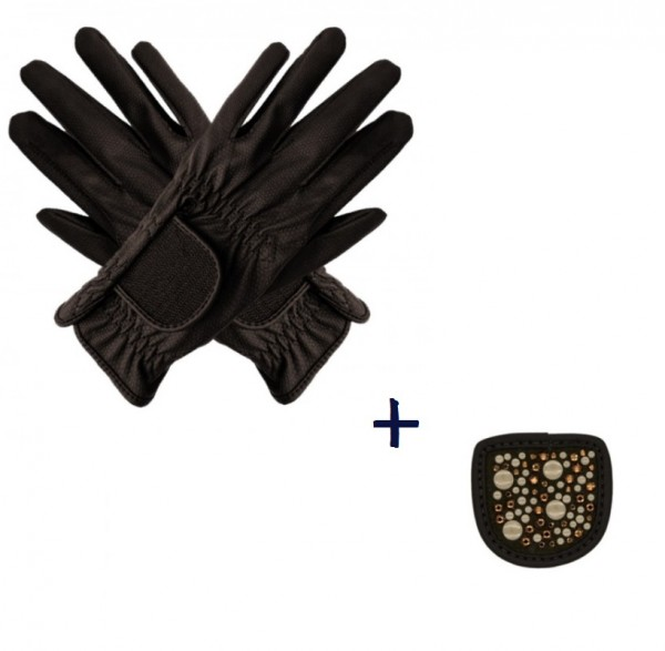 """Hauke Schmidt riding glove """"a Touch of Magic Tack"""" with patches """"Mixed"""" mocha"""