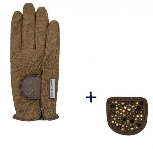 """Hauke Schmidt riding glove """"a Touch of Magic Tack"""" with patches """"Glamour"""" Caramel"""