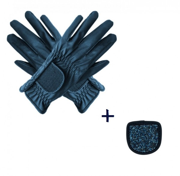 """Hauke Schmidt riding glove """"a Touch of Magic Tack"""" with patches """"Fabrics"""" Marine"""