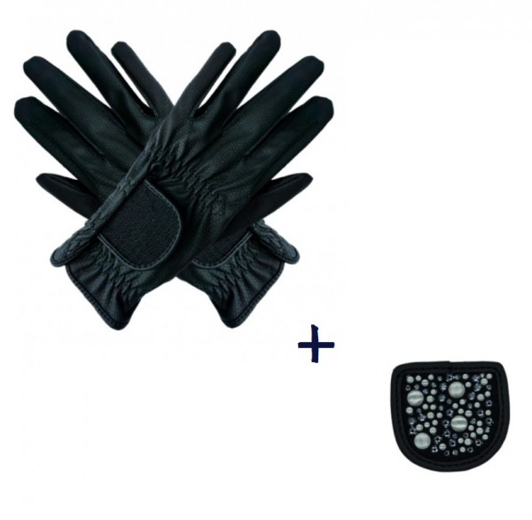 """Hauke Schmidt Riding Glove """"a Touch of Magic Tack"""" with Patches """"Mixed"""" Black"""