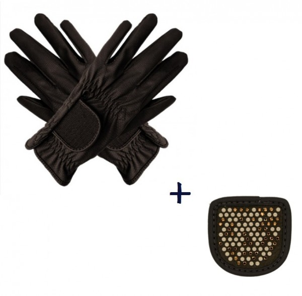 """Hauke Schmidt riding glove """"a Touch of Magic Tack"""" with patches """"Chessboard"""" mocha"""
